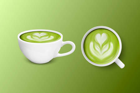 Vector 3d Realistic Ceramic White Coffee Mug, Cup Isolated on Green Background. Green Milk Matcha, Foam Flower, Heart Pattern. Design Template. Front and Top View