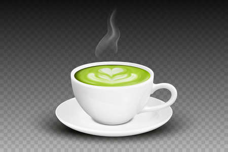 Vector 3d Realistic Ceramic White Coffee Mug, Cup, Saucer and Steam Smoke Closeup Isolated on Transparent Background. Green Milk Matcha, Foam Heart, Flower Pattern. Design Template. Front View