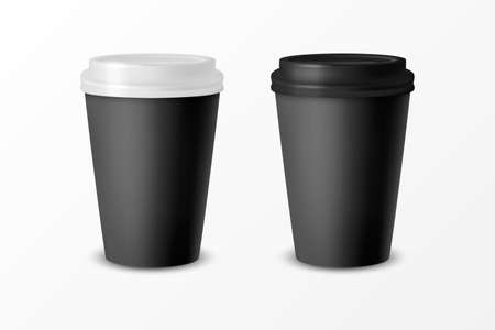Vector 3d Realistic Black Paper Disposable Cup with White and Black Lid Set Isolated on White Background. Stock Vector Illustration. Design Template. Front View