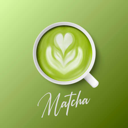 Vector 3d Realistic Ceramic White Porcelain Ceramic Coffee Mug, Cup Closeup Isolated on Green Background. Green Milk Foam Matcha, Flower, Heart Pattern. Design Template. Top View