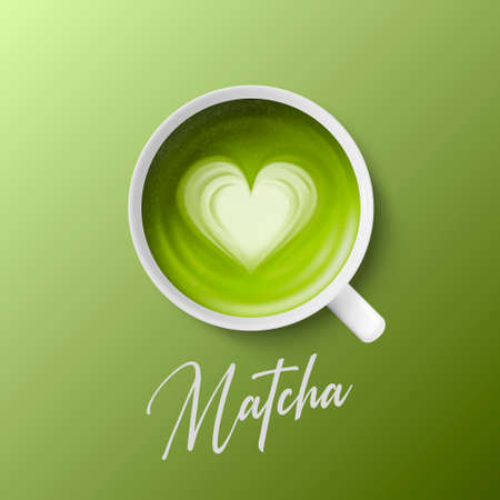 Vector 3d Realistic Ceramic White Porcelain Ceramic Coffee Mug, Cup Closeup Isolated on Green Background. Green Milk Foam Matcha, Heart Pattern. Design Template. Top View Stock Illustratie