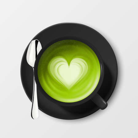 Vector 3d Realistic Ceramic Black Porcelain Ceramic Coffee Mug, Cup, Saucer and Teaspoon Isolated on White Background. Green Milk Foam Matcha, Heart Pattern. Design Template. Top View