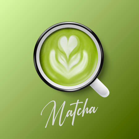 Vector 3d Realistic Ceramic White Metal Enamel Coffee Mug, Cup Closeup Isolated on Green Background. Green Milk Foam Matcha. Flower, Heart Pattern. Design Template. Top View