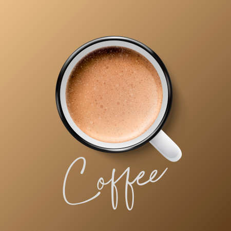 Vector 3d Realistic Ceramic White Metal Enamel Retro Coffee Mug, Cup Closeup on Brown Background. Milk Foam Coffee, Latte, Capuccino. Design Template. Top View