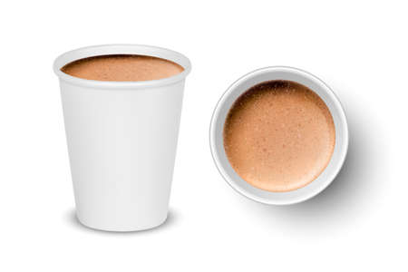 Vector 3d Realistic Paper White Disposable Cup Set Isolated with Milk Coffee Foam Isolated. Latte, Capuccino. Stock Vector Illustration. Design Template. Top and Front View Vettoriali