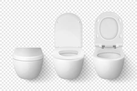 Vector 3d Realistic White Ceramic Closed, Opened Toilet Bowl with Lid Set on Transparent Background. Toilet Room. Plumbing, Mockup, Design Template for Interior, Cleaning, Hygiene Concept. Front View Vetores