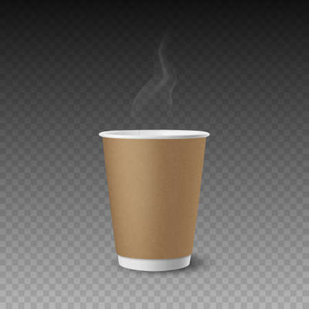 Vector 3d Realistic Paper Brown Textured Disposable Tea, Coffee Cup Isolated. Steam, Smoke. Stock Vector Illustration. Design Template. Front View Vektoros illusztráció