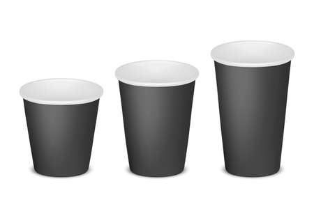 Vector 3d Realistic Paper Black Disposable Blank Empty Tea, Coffee Cup Set Isolated on White Background. Small, Medium, Big Size. Stock Vector Illustration. Design Template. Front View Ilustración de vector