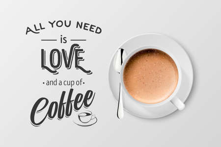 Vector 3d Realistic White Metal Enamel Mug with Foam Coffee - Cappuccino, Latte - Isolated. Coffee Cup with Typography Quote, Phrase about Coffee. Stock Illustration. Design Template. Top View Vector Illustratie