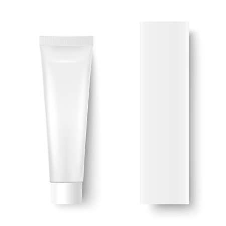 Vector 3d Realistic Plastic, Metal White Tooth Paste, Cream Tube, Carton Packing Isolated on White Background. Design Template of Toothpaste, Cosmetics, Cream, Tooth Paste for Mockup. Top View