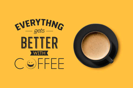 Vector 3d Realistic Black Ceramic Porcelain Mug with Foam Coffee - Capuchino, Latte, Americano. Coffee Cup with Typography Quote, Phrase about Coffee. Stock Illustration. Design Template. Top View
