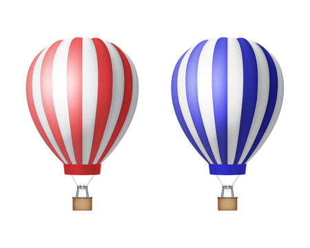 Vector 3d Realistic Striped Red and Blue Hot Air Balloon Icon Set Isolated on White Background. Design Template for Mockup, Branding. Front View Vetores