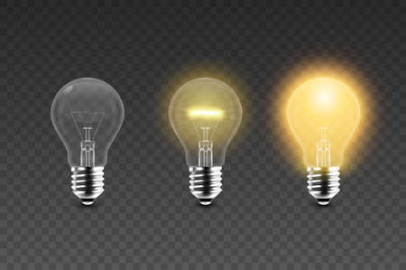 Vector 3d Realistic Glowing, Turned Off Electric Light Bulb Icon Set Isolated on Transparent Background. Design Template. Inspiration, Idea concept. Front View