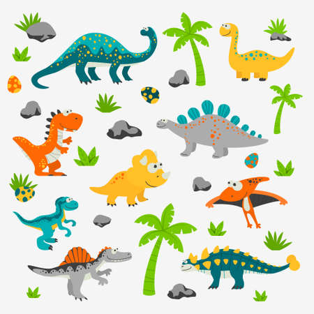 Vector Cute and Funny Flat Dinosaurs