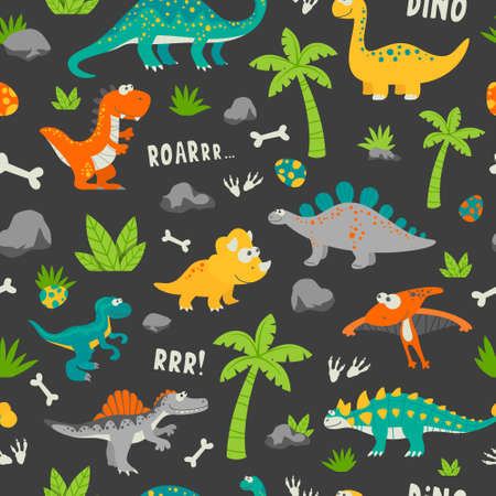 Vector Seamless Pattern. Cute and Funny Flat Dinosaurs 矢量图像