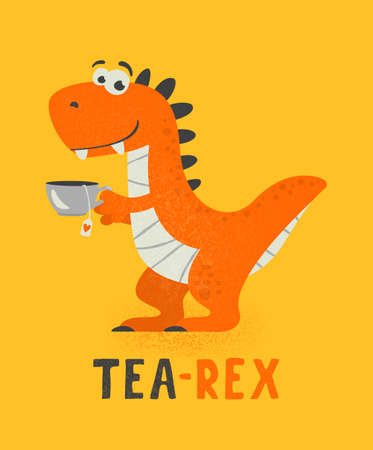 Vector Cute and Funny Cartoon Hand Drawn Dinosaur Drinking Hot Tea Beverage, Holding Cup of Tea. Kids, Children s Illustration, Print 矢量图像