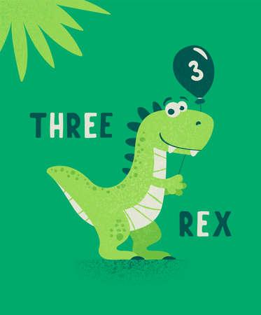 Dinosaur Tirannosaur Three Rex. Cartoon Tirex. Happy Birthday Card for a Child for Three Years. Vector Cute and Funny Cartoon Hand Drawn Dinosaur Holding Balloon. Kids, Children s Illustration, Print