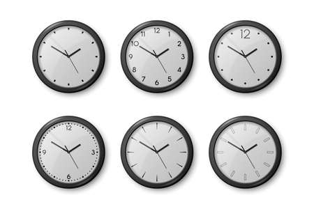 Vector 3d Realistic Black Wall Office Clock Icon Set Isolated on White. White Dial. Design Template of Wall Clock Closeup. Mock-up for Branding and Advertise. Top, Front View 矢量图像