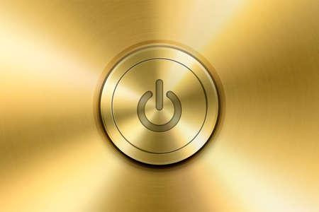 Vector Realistic Golden Yellow Metallic Knob. Circle Button Closeup. Design Template of Metal. Power Volume Playback Control