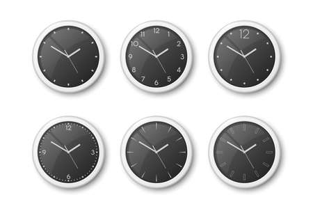 Vector 3d Realistic White Wall Office Clock Icon Set Isolated on White. Black Dial. Design Template of Wall Clock Closeup. Mock-up for Branding and Advertise. Top, Front View