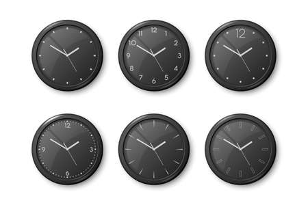 Vector 3d Realistic Black Wall Office Clock Icon Set Isolated on White. Black Dial. Design Template of Wall Clock Closeup. Mock-up for Branding and Advertise. Top, Front View