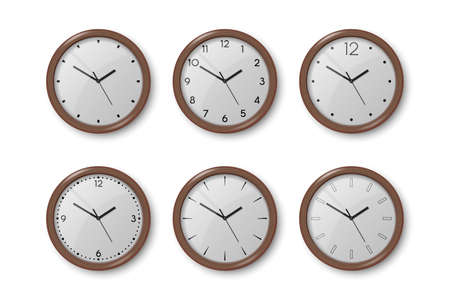 Vector 3d Realistic Dark Brown Wooden Wall Office Clock Icon Set Isolated on White. White Dial. Design Template of Wall Clock Closeup. Mock-up for Branding and Advertise. Top, Front View.