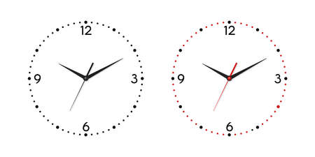 Vector White Wall Office Clock Dial Set Isolated on White Background. Design Template