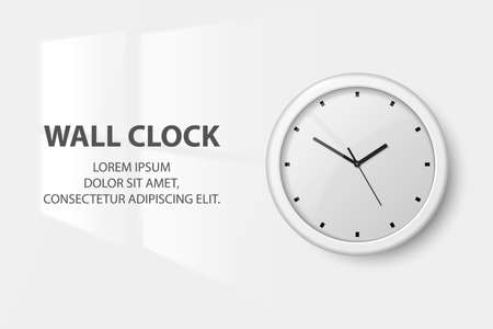 Vector 3d Realistic White Wall Office Clock on White Wall Background. Light from the Window on the Wall in the Interior. White Dial. Design Template of Wall Clock Closeup. Mock-up for Branding.