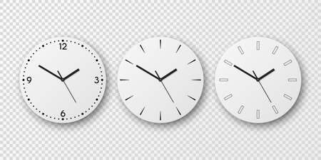 Vector 3d Realistic White Wall Office Clock Dial Icon Set Isolated. White Dial. Design Template, Mock-up for Branding and Advertise. Top, Front View