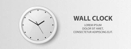 Vector 3d Realistic White Wall Office Clock on Textured White Wall Background. Design Template of Office Clock with White Dial in Interior. Mock-up for Branding 矢量图像