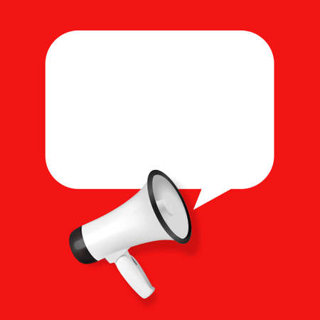 Vector Realistic 3d Simple White Megaphone with Speech Buble on Red Background. Design Template, Banner, Web. Speaker Sign. Announcement, Attention Concept