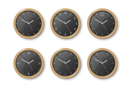 Vector 3d Realistic Dark Brown Wooden Wall Office Clock Icon Set Isolated on White. Black Dial. Design Template of Wall Clock Closeup. Mock-up for Branding and Advertise. Top, Front View