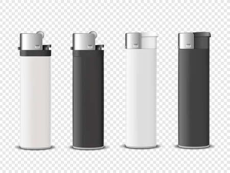 Vector 3d Realistic White and Black Blank Cigarette Lighter Icon Set Closeup Isolated on Transparent Background. Design Template for Advertising, Mockup, Corporate Identity. Front View