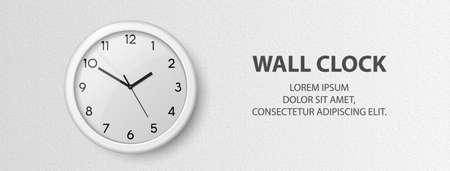 Vector 3d Realistic White Wall Office Clock on Textured White Wall Background. Design Template, Office Clock with White Dial in Interior. Mock-up for Branding