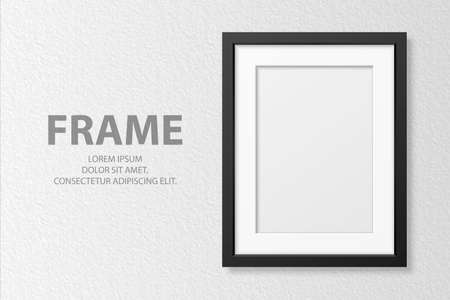 Vector 3d Realistic Vertical A4 Black Wooden Simple Modern Frame on White Textured Wall Background. It Can Be Used for Presentations. Design Template for Mockup, Front View