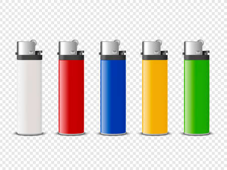 Vector 3d Realistic White, Red, Blue, Yellow, Green Blank Cigarette Lighter Set Closeup Isolated. Design Template for Advertising, Mockup, Corporate Identity. Front View 矢量图像