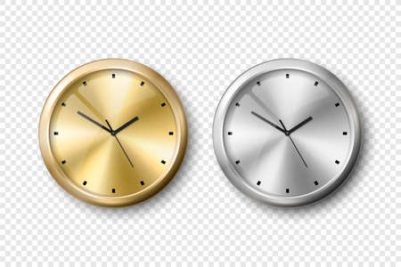 Vector 3d Realistic Yellow Golden and Grey Silver, Steel Wall Office Clock Icon Set Isolated. Metal Dial. Design Template of Wall Clock Closeup. Mock-up for Branding and Advertise. Top, Front View