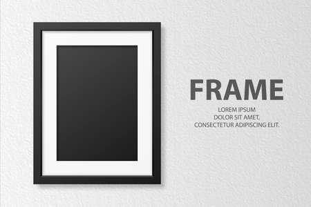 Vector 3d Realistic Blank Vertical A4 Black Wooden Simple Modern Frame on White Textured Wall Background. It Can Be Used for Presentations. Design Template for Mockup, Front View 矢量图像