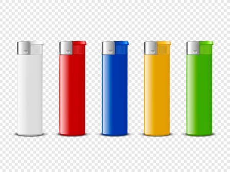 Vector 3d Realistic Blank White, Red, Blue, Yellow, Green Blank Cigarette Lighter Set Closeup Isolated. Design Template for Advertising, Mockup, Corporate Identity. Front View.