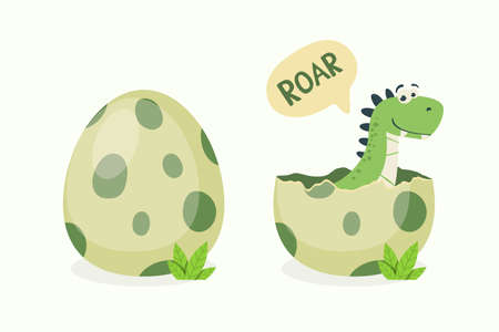 Little Dino. Hatched Little Dinosaur Baby, Child, Kid. Tirannosaur Tirex, Dinosaur Egg. Cartoon T-Rex. Vector Cute and Funny Cartoon Hand Drawn Dinosaur, Children s Illustration, Print for Kids, Card 矢量图像