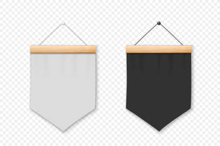 Vector 3d Realistic Blank White and Black Pennant Wall Hanging, Design Template, Mockup. Pennant Closeup Isolated. Empty Fabric Flag, Advertising Canvas Banners. Pennants Set