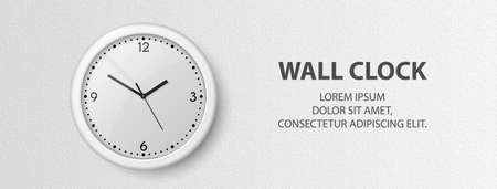 Vector 3d Realistic White Wall Office Clock on Textured White Wall Background. Design Template, Banner with Office Clock with White Dial in Interior. Mock-up for Branding