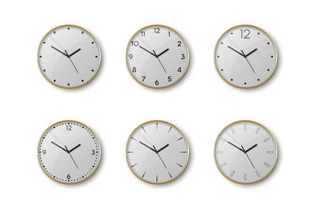 Vector 3d Realistic Yellow Golden Metal Wall Office Clock Icon Set Isolated on White. White Dial. Design Template of Wall Clock Closeup. Mock-up for Branding and Advertise. Top, Front View