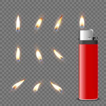 Vector 3d Realistic Blank Red Cigarette Gasoline Lighter and Burning Flame Icon Set Closeup Isolated. Fire from a Lighter. Design Template of Lighter Flame. Front View