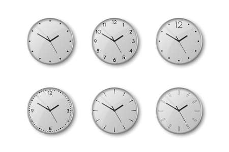 Vector 3d Realistic Grey Silver, Steel Metal Wall Office Clock Icon Set Isolated on White. White Dial. Design Template of Wall Clock Closeup. Mock-up for Branding and Advertise. Top, Front View 矢量图像