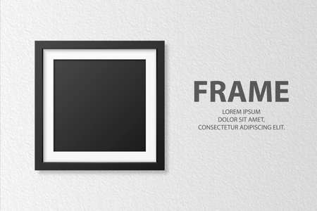 Vector 3d Realistic Blank Square 4 Black Wooden Simple Modern Frame on White Textured Wall Background. It Can Be Used for Presentations. Design Template for Mockup, Front View
