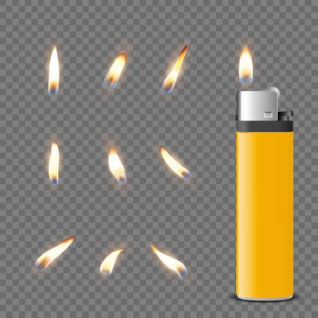 Vector 3d Realistic Blank Yellow Gasoline Lighter and Burning Flame Icon Set Closeup Isolated. Fire from a Lighter. Design Template of Lighter Flame. Front View