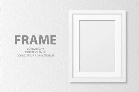 Vector 3d Realistic Blank White A4 Vertical Wooden Simple Modern Frame on White Textured Wall Background. It Can Be Used for Presentations. Design Template for Mockup, Front View