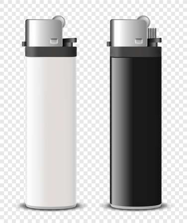 Vector 3d Realistic Blank White and Black Cigarette Lighter Set Closeup Isolated. Design Template for Advertising, Mockup, Corporate Identity. Front View