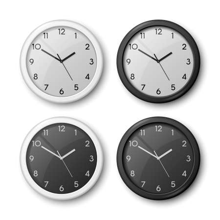 Vector 3d Realistic White, Black Wall Office Clock Icon Set Isolated. White Dial, Black Dial. Design Template of Wall Clock Closeup. Mock-up for Branding and Advertise. Top or Front View